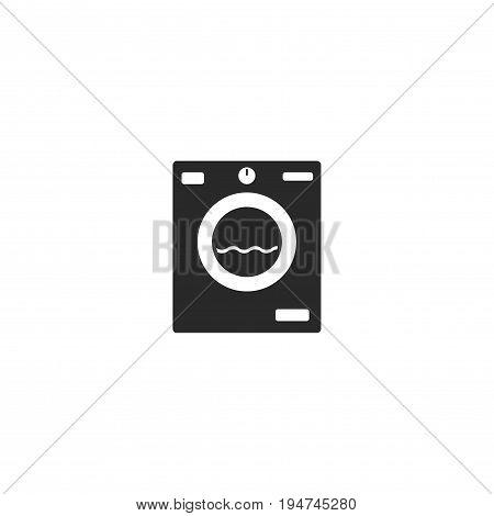 Washing machine icon vector, flat cartoon washer symbol isolated on white background