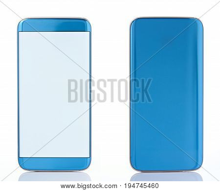 Back anf front view of generic smartphone isolated on white background