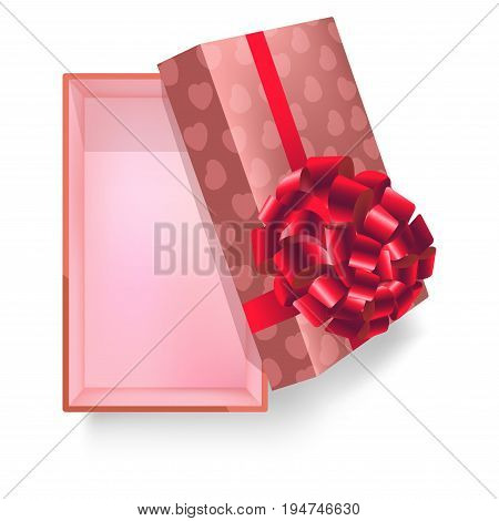 Gift box with pink ribbon, bow flower decoration and heart pattern wrapper for Wedding, Valentines Day or birthday gifts. Vector 3d realistic modern square cardboard paper package