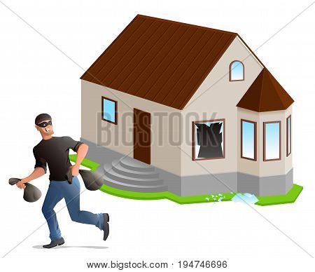 Man thief robbed house. Home insurance. Isolated on white vector illustration