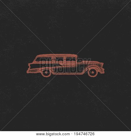 Surf trip concept Vector Summer surfing retro badge. Beach surfer emblem , rv outdoors banner, vintage background. Boards, retro car. Surfer icon design. For summer logotype, patch, party brochure.