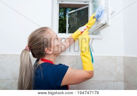 Worker Cleans The Window With Spray