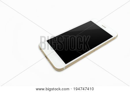 White Smartphone, Isolated On A White Background