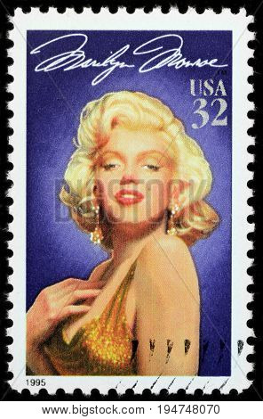 LUGA RUSSIA - APRIL 26 2017: A stamp printed by USA shows famous American actress Marilyn Monroe circa 1995