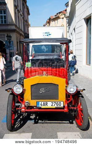 Vintage Ford Car Parked On The Prague Street