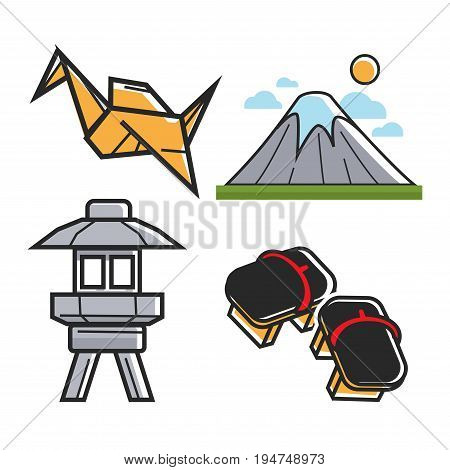 Japan travel symbols and culture or famous landmark attractions. Vector icons of Japanese origami, Mount Fuji or Fujiama mountain in Tokyo, geta shoes and toro light tower