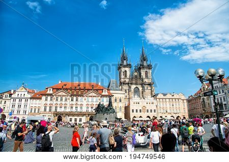 Prague Chech Republic-June 3 2017 : Prague Old Town Square and Church of Mother of God before Tyn in Prague Czech Republic. Architecture and landmark of Prague