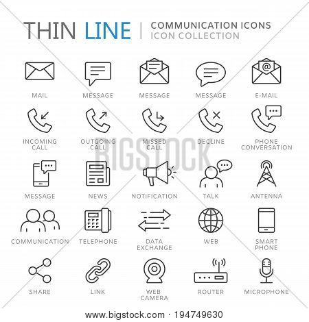 Collection of communication thin line icons. Vector eps10