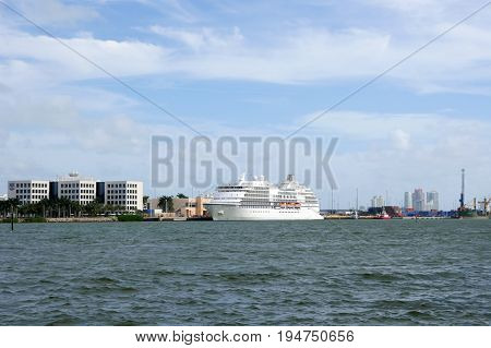 Luxury White Sea Or Ocean Liner Ship At City Harbo