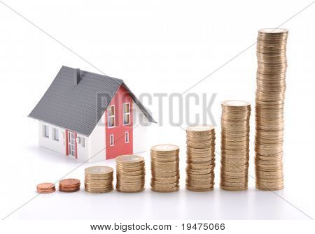 Housing prices going up concept. If you flip horizontal, housing prices goes down. poster