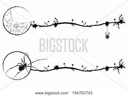 set of vignettes with spider and mushrooms in black and white