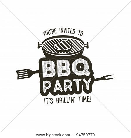 BBQ party typography poster template in retro old style. Offset and letterpress design. Letter press label, emblem. Isolated on white background.