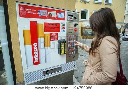 Cigarette Automat In Street