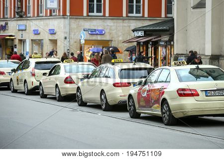 Lined Up Parked Taxis
