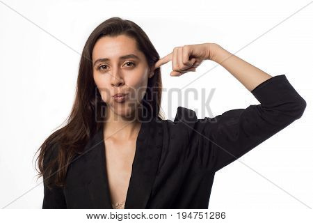 Beautiful Pretty Woman Putting Her Finger In Her Ear
