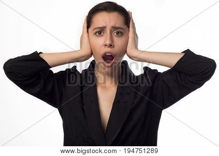Young Businesswoman Covering Her Ears Opened Mouth