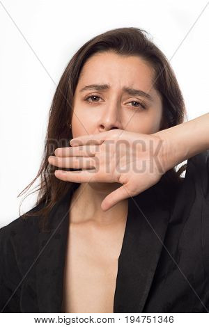 Businesswoman Yawns Covering Her Hand With Her Mouth