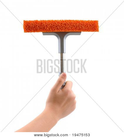 Female hand cleaning with rubber window cleaner isolated on white background.