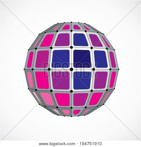 Abstract vector low poly object with black lines and dots connected. Purple 3d futuristic globe with overlapping lines mesh and squares.