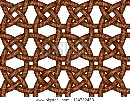 Vector seamless decorative pattern of intersected brown leather braided cords