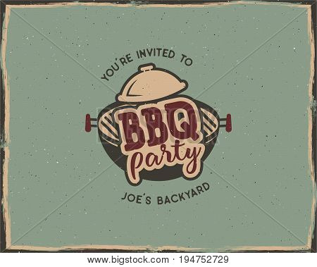 BBQ party typography poster template in retro old style. Offset and letterpress design. Letter press label, emblem. Isolated on scratched background. Stock illustration.