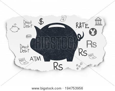 Currency concept: Painted black Money Box icon on Torn Paper background with  Hand Drawn Finance Icons