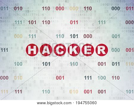 Safety concept: Painted red text Hacker on Digital Data Paper background with Binary Code