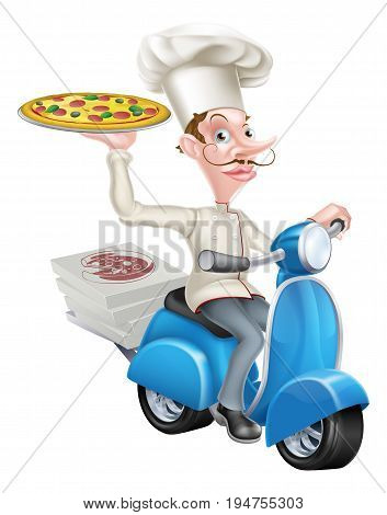 A cartoon chef from a pizzeria delivering pizza on his scooter