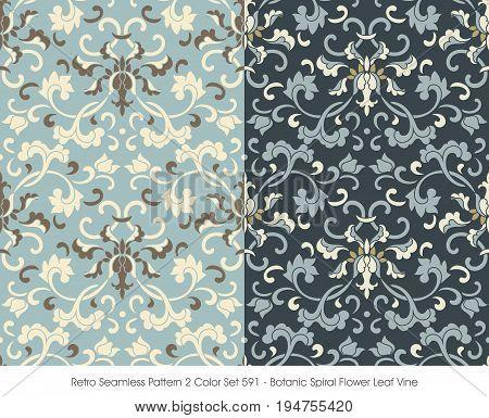 Retro Seamless Pattern 2 Color Set Botanic Spiral Flower Leaf Vine