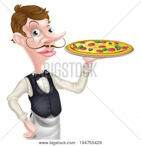 An illustration of a cartoon waiter holding a pizza on a tray