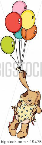 Cute dog holding star flying with balloons