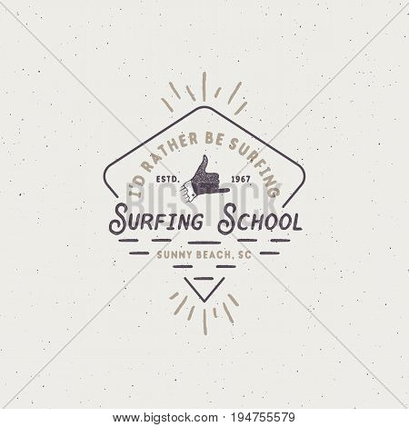 Surf school emblem in unique retro style. Best for summer t-shirts, travel mugs, clothing, apparel. Vintage design for your brand, projects. Stock vector illustration.