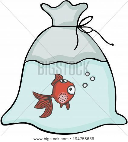 Scalable vectorial image representing a red fish inside the plastic bag, isolated on white.
