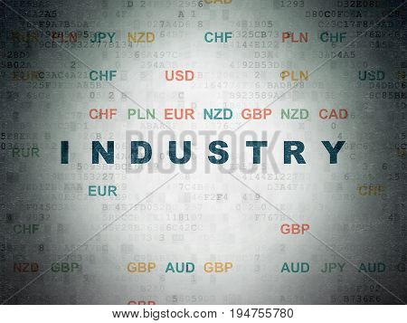 Finance concept: Painted blue text Industry on Digital Data Paper background with Currency