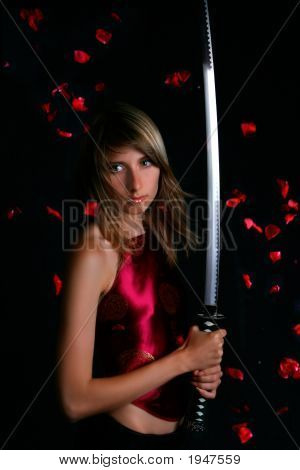 Blonde With Japanese Sword