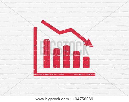 Finance concept: Painted red Decline Graph icon on White Brick wall background