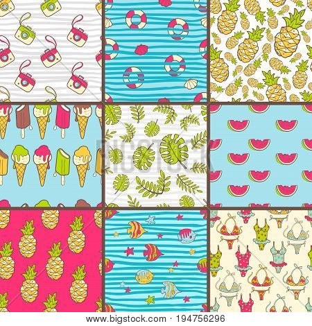 Vector collection of seamless summer patterns. Bright cute cartoon style. Photo camera, tropic fish, pineapple, watermelon, palm leaves, swim suit, bikini, life ring. Pop art elegant style.