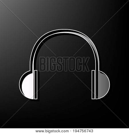 Headphones sign illustration. Vector. Gray 3d printed icon on black background.