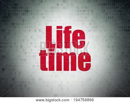 Timeline concept: Painted red word Life Time on Digital Data Paper background