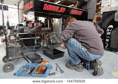 Magny-cours, France, June 30, 2017 : Mechanic At Work. The First French Historic Grand Prix Takes Pl