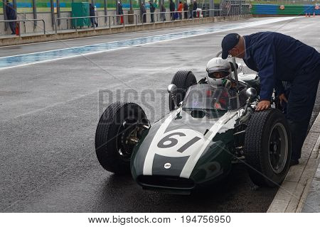 Magny-cours, France, June 30, 2017 : Old Cooper F1. The First French Historic Grand Prix Takes Place