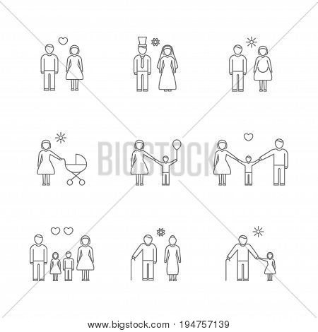 Family Thin Line Icons Set Parent or Couple Love Care Symbol Isolated on White Background. Vector illustration