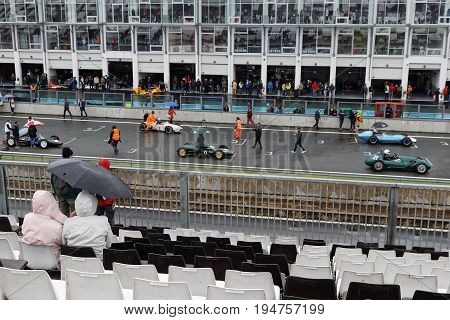 Magny-cours, France, July 1, 2017 : Wet Race Start. The First French Historic Grand Prix Takes Place