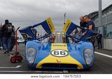 Magny-cours, France, July 2, 2017 : Lola T70 On The Grid. The First French Historic Grand Prix Takes