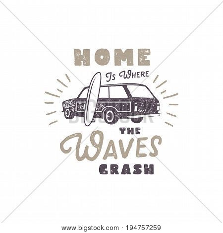 Summer label with retro surf car, surfboard and typography elements. Vintage beach style for t-shirts, emblems, mugs, apparel design, clothing and other identity. Stock vector isolated on white