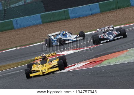 Magny-cours, France, July 2, 2017 : Three Formula One Cars At The Chicane. The First French Historic
