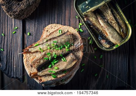 Tasty Sandwich With Sardines, Chive And Wholegrain Bread