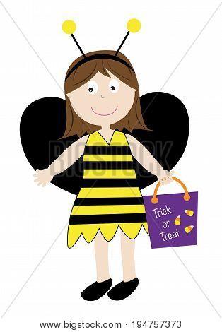 Cute Happy Halloween Holiday Bumblebee Girl Candy Bag