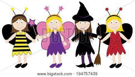 Happy Halloween Holiday Kids in Children Costumes