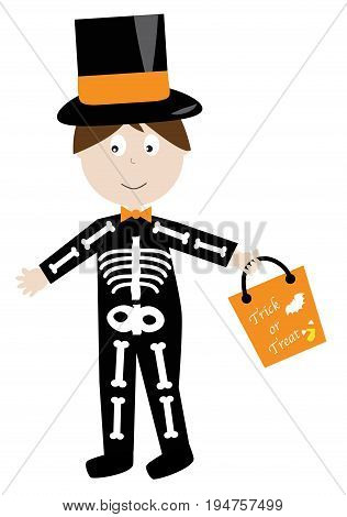 Happy Halloween Skeleton Trick or Treater Candy Bag